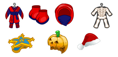 the top left 3 items are all part of the red ninja outfit the one on the right is the x ray costume the bottom left is the starry starry hat - Webkinz Halloween Costumes