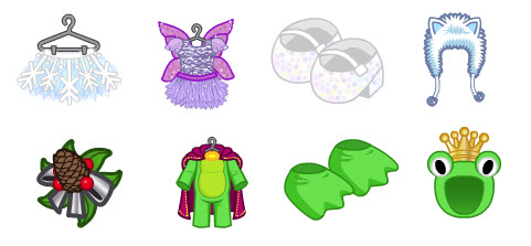 top row snowflake skirt sugar plum ballerina dress white sparkle shoes and furry winter hat bottom row pine cone decoration hat frog prince costume - Webkinz Halloween Costumes