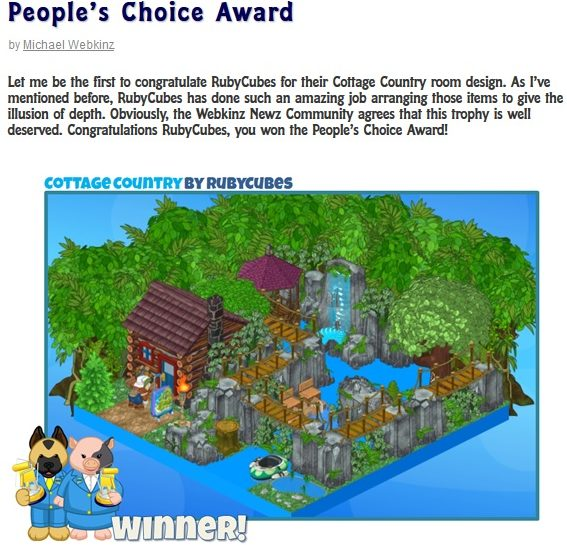 Congratulations RubyCubes on winning the People s Choice Room Design  Award    You are so very deserving. Gymbo  s Webkinz Blog   Gymbo has Contests  News  Tips  Trades and