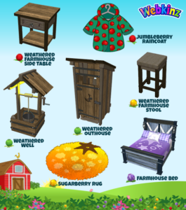 The new Jumbleberry Fields prizes will be the Jumblerry Raincoat, Weathered Farmhouse Side Table (Jumbleberry prizes), Farmhouse Bed (Moonberry prize), Weathered Outhouse Weathered Well (Pickleberry prizes), Sugarberry Rug and the Weathered Farmhouse Stool (Sugarberry prizes).