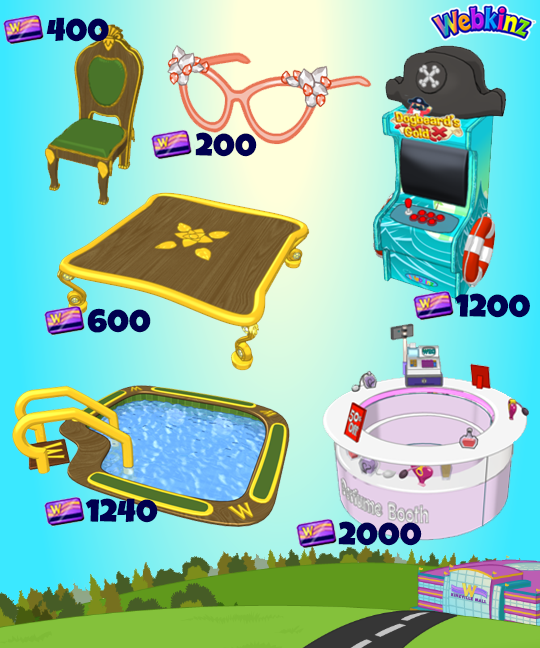 The new Spree Mall prizes will be (names are not currently known but are my best guesses based off of existing prizes) Designer Glasses, Dogbeard's Gold Arcade Unit, Gold Leaf Dining Chair, Golden Dining Table, Gold Leaf Swimming Pool, and Kinzville Mall Perfume Booth.