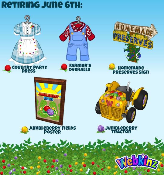 The retiring Jumbleberry Fields prizes will be the Country Party Dress, Farmer's Overalls (Jumbleberry prizes), Jumbleberry Tractor (Moonberry prize), Homemade Preserves Sign, and Jumbleberry Fields Poster (Sugarberry prizes).