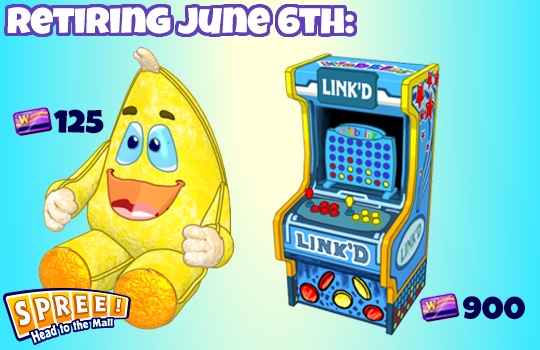The retiring Spree Mall prizes will be the Giant Zingoz Plushy and Link'D Arcade Unit.