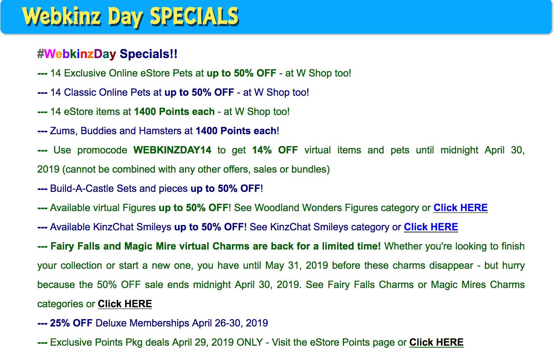 Gymbo's Webkinz Blog » Webkinz Day April 29, 2019 Estore Sale